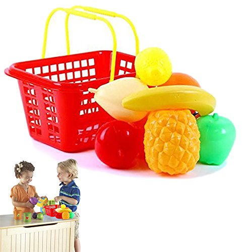 Christmas Gift | Dazzling Toys Pretend Play Fruit Set with Shopping Basket for Kids - 9 Piece Set (Cheap Fruit Baskets)