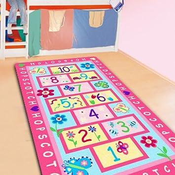 FADFAY Home Textile,Fashion Hopscotch Kids Carpet Bedroom,Sweet Pink Rug,Designer  Figure
