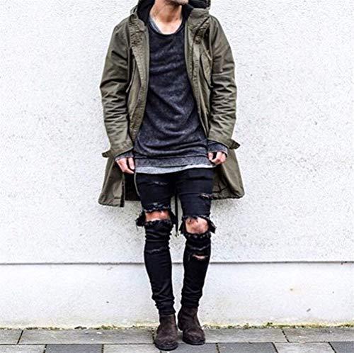 Per Jeans Tempo Nne Buchi Classiche Tliche Il Four Slim Denim Nero Con Chern Skinny Fit Libero Pants Uomo Seasons Ragazzi Da ASqF1St