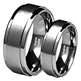 His & Her's 8MM/6MM Brushed Center Step Edge Tungsten Carbide Wedding Band Ring Set