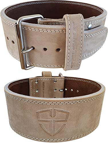 Steel Sweat Weight Lifting Belt - 4 Inches Wide by 10mm - Single Prong Powerlifting Belt That's Heavy Duty - Vegetable Tanned Leather - Hyde Oat Medium