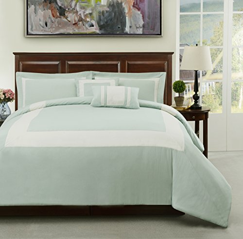 Basic Futon Set (Cozy Beddings S1606-2F Forte Aqua, Green 5Pc Comforter Set Ivory Stripe Bed Cover, Aqua Green, Full)