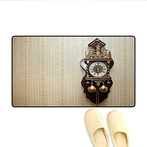 Bath Mat,an Antique Style Wood Carving Clock with Roman Numerals Hanging on The Wall Design,Door Mats for Inside,Brown and - Ganesh Carving