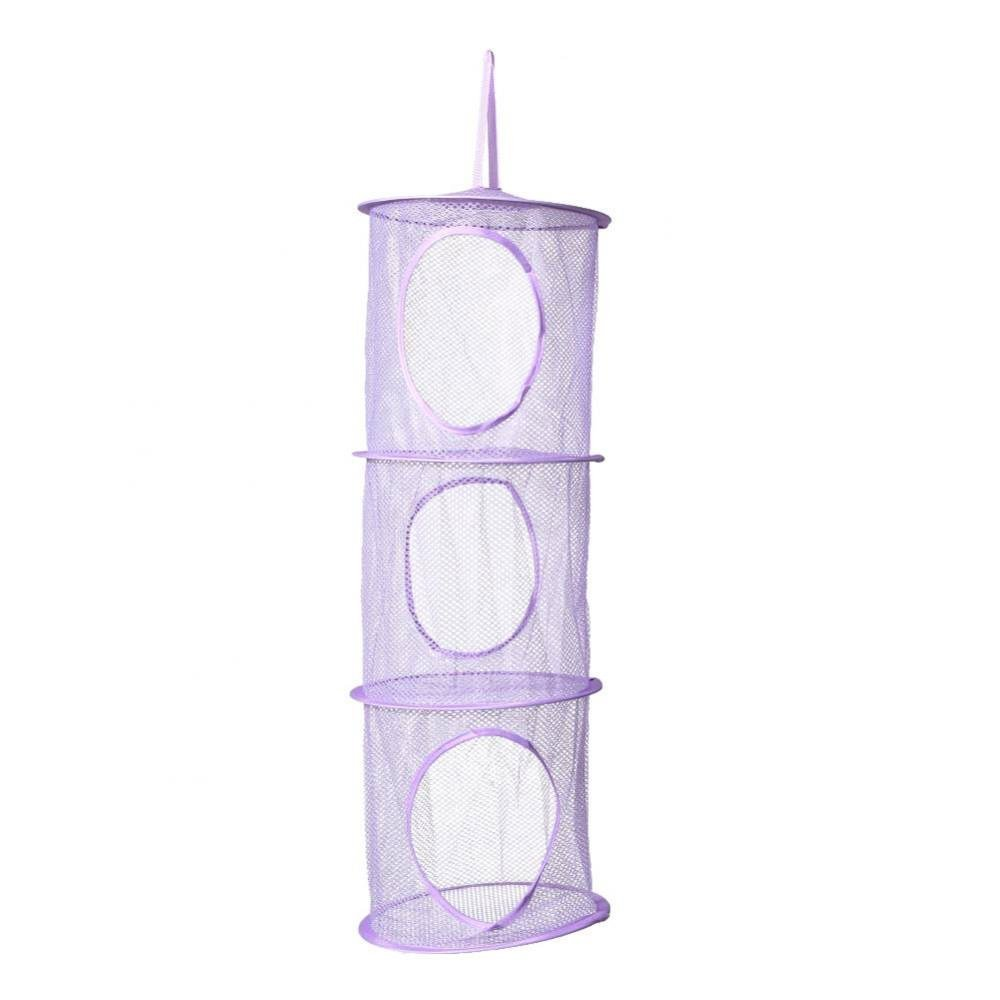 Sky Fish Storage Net Hanging Mesh Storage Basket Toys Storage Mesh Semi Closed Organizer Applicable to Underwear and Socks and so on 3 Layers Purple