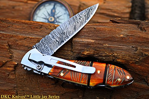 DKC Knives DKC-58-LJ-EH-DS-PC Little Jay Chief Pocket Clip Damascus Steel Folding Pocket Knife Buffalo Horn Handle 4 Folded 7 Long 4.7oz oz High Class Looks Hand Made LJ-Series