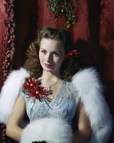 Corsage Stunning (Jeanne Crain stunning fur gown with holiday corsage 11x14 Promotional Photograph)