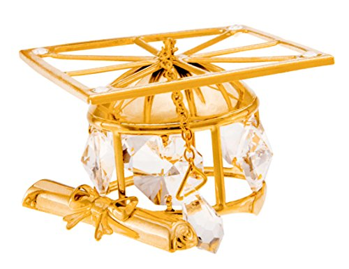 Crystal Temptations Graduation Cap 24k Gold Plated Figurine with Swarovski Crystals price tips cheap