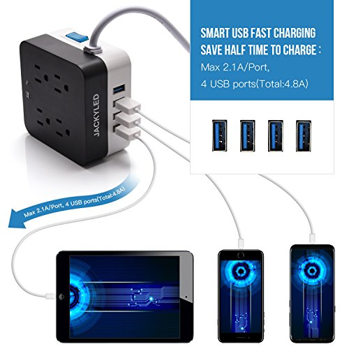 5V 4.8A USB Power Strip-JACKYLED Space Saving 9.8ft Long Cord Surge Protector 700J 2400W 4 Smart USB Port with 4-Socket Fast Charging Fireproof Outlets for Home Office Appliances Devices by JACKYLED (Image #1)