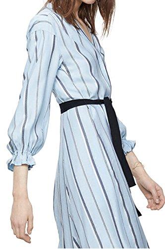 Damen Langarm Streifen Maxi-Kleid mit Gürtel