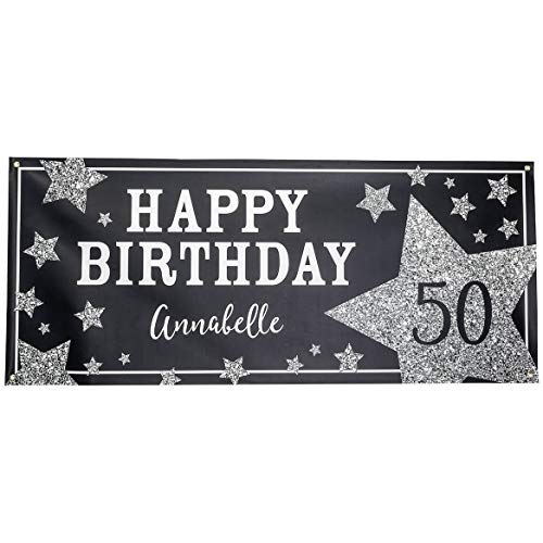 Fox Valley Traders Personalized Birthday Party Banner, Premium 13 oz. Indoor/Outdoor Vinyl Sign with Brass Grommets, Deluxe Size 30