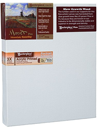 Masterpiece Artist Canvas MC-1117 Monet Pro 1-1/2' Deep, 11' x 17', Cotton 10.3oz - 3X - Carmel Portrait Smooth