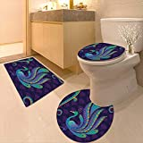 Printsonne 3 Piece Extended Bath mat Set Bird with Oriental Feather Before Eastern Spiritual Animal Image Dark Purple Teal Blue 3 Piece Toilet Cover Set