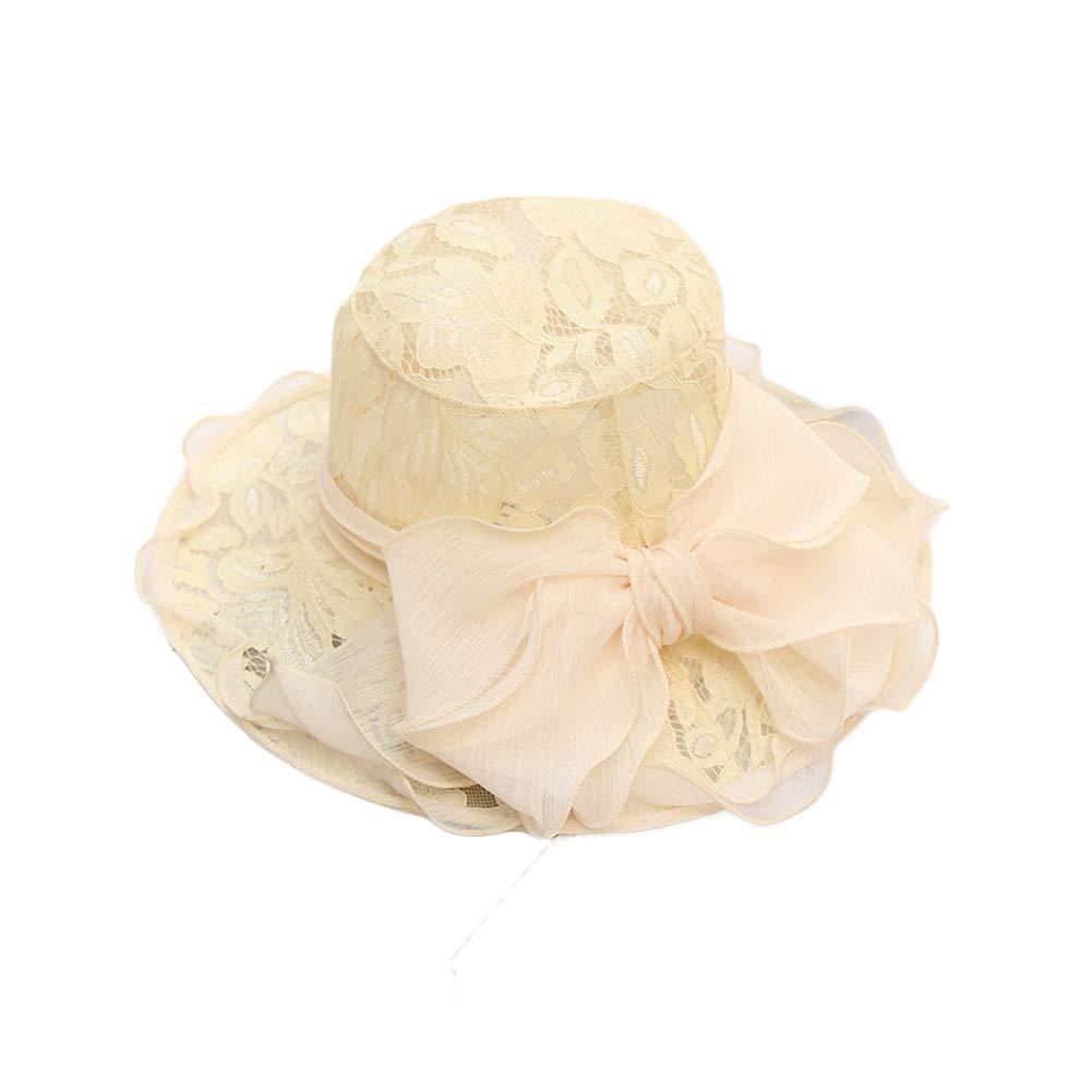 Beige Lace Eanny Womens Kentucky Derby Church Hat, Wedding Tea Party Dress Sun Hat