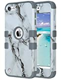 ULAK Case for iPod Touch 6 & 5, ULAK Protective Anti Slip Anti-Scratch Shockproof Cover with Hybrid High Soft Silicone + Hard PC Case for iPod Touch 5/6th Generation (Marble Pattern)