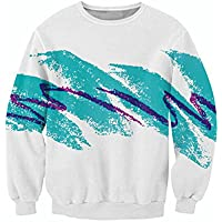Uideazone Men Women 3D Graffiti Crewneck Shirt Hoodie Clothes White …