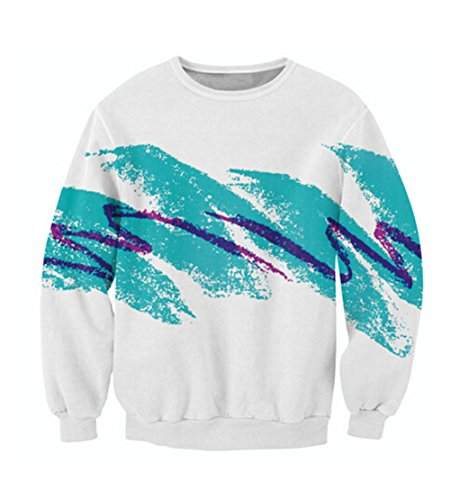 (Uideazone Men Women 3D Graffiti Shirt The 90s Crewneck Sweatshirt White)