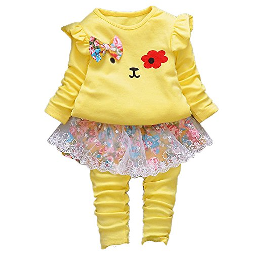 Spring Autumn Infant Little Baby Girls Clothing Set 2 Pieces Set Long Sleeve T Shirt and Skirt Pants for Children Kids Gilrs Toddler Baby (2-3Years, ()