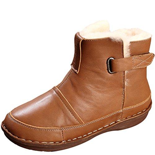 Mordenmiss Womens Thickening Winter Bootie Fleece Warm Wear Velcro Martin Stivali Marrone