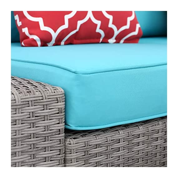 Do4U 6 PCs Outdoor Patio PE Rattan Wicker Sofa Sectional Furniture Set Conversation Set- Thick Seat Cushions & Glass Coffee Table| Patio, Backyard, Pool| Steel Frame (Turquoise) -  - patio-furniture, patio, conversation-sets - 51aSAFH5s9L. SS570  -