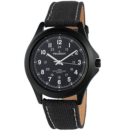 (Peugeot Black Aviator Watch 24Hr Time Markers, Water-Resistant with Black Canvas Strap)