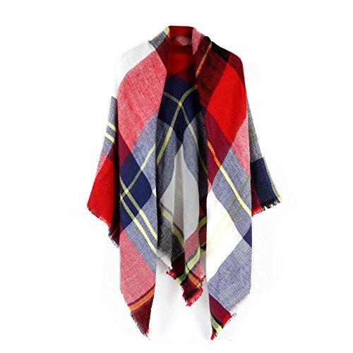 Women's Cozy Tartan Blanket Scarf Wrap Shawl Neck Stole Warm Plaid Checked Pashmina (Red Blue White) Blue Flag Yellow Stripe