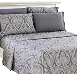Lux Decor Collection Bed Sheet Set - Brushed Microfiber 1800 Bedding - Wrinkle, Stain and Fade Resistant - Hypoallergenic - 6 Piece (Queen, Paisley Grey)