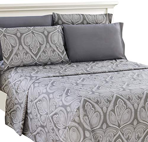 Lux Decor Collection Bed Sheet Set - Brushed Microfiber 1800 Bedding - Wrinkle, Stain and Fade Resistant - Hypoallergenic - 4 Piece (Queen, Paisley (Cotton Brushed Comforter)
