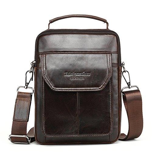 Meigardass Men's Genuine Leather Shoulder Bag Messenger Bag Handbag CrossBody Briefcase (Dark Brown)