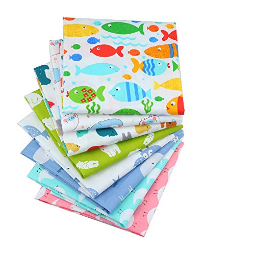 Cartoons Quilting Cotton Fabric Patchwork Fabric Fat Quarter Bundles Fabric for Handmade Bags Purse Pillowcase 40X50cm 8pcs/lot (As Picture Shown)
