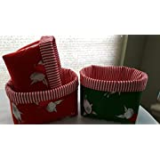 Fabric Organizer Basket Bin Caddy Storage Container - Set or 3 Mini Baskets Olivia the Pig