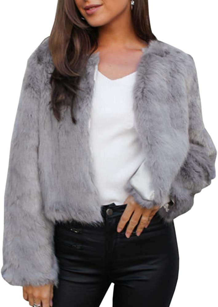 GAMISOTE Womens Faux Fur Jacket Open Front Shaggy Long Sleeve Fashion Warm Outwear Coat