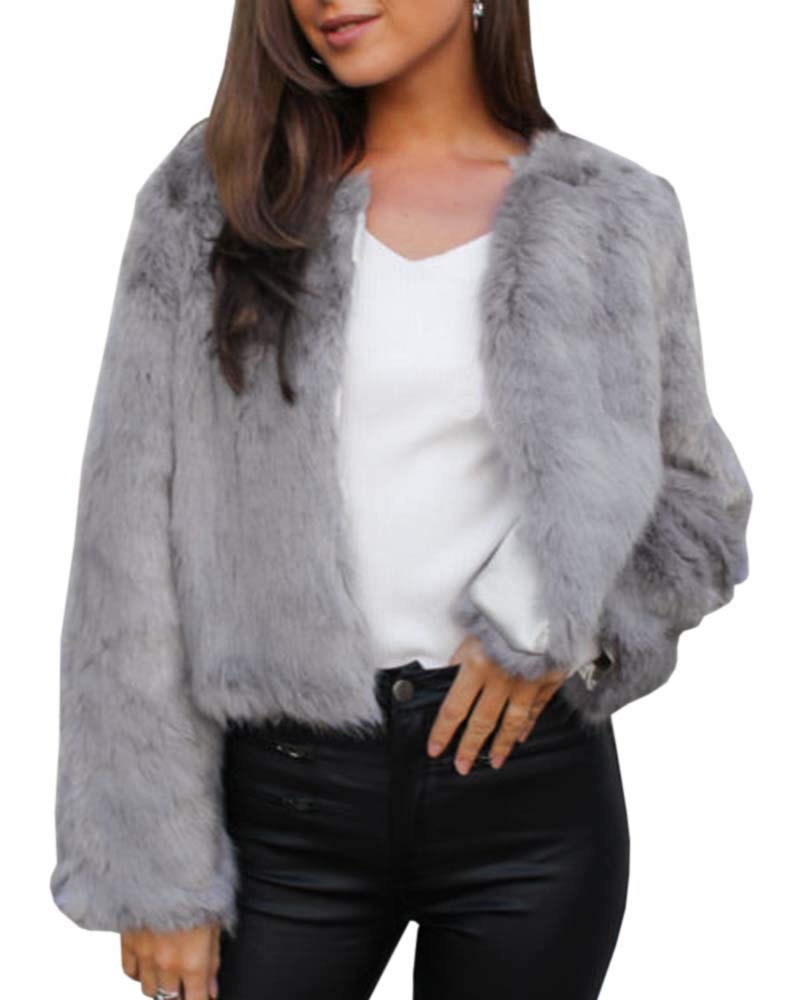 GAMISOTE Womens Faux Fur Jacket Open Front Shaggy Long Sleeve Fashion Warm Outwear Coat Grey by GAMISOTE