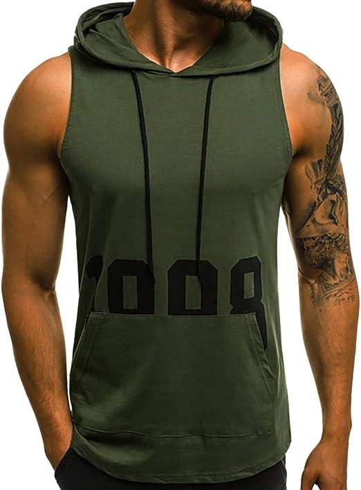 Hoodie Mens Sleeveless Slim Zip Waistcoat Vest Bodybuilding Gym Muscle Tank Tops