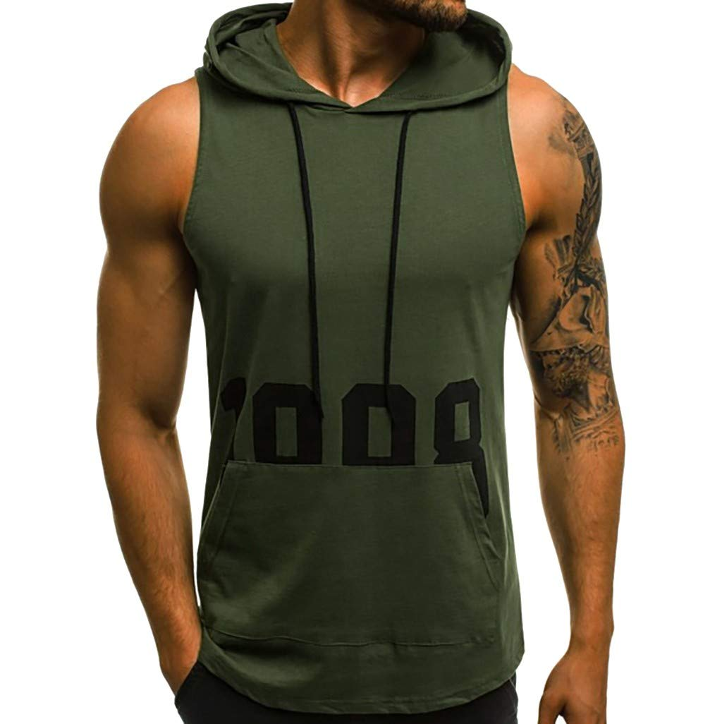 PASATO M-XXL Men Letter Printing Fitness Muscle Hole Bodybuilding Skin Tight-Drying Tops Blouse Vest Sleeveless Hooded T-Shirt(Army Green,M=US:S)