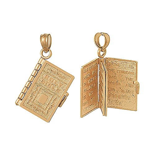 14k Rose Gold Religious Charm Pendant, 3-D Holy Bible Book with Lord's Prayer, Moveable Page 14k Yellow Gold Rose Charm