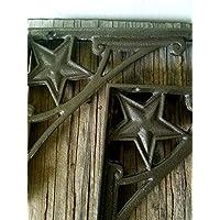 Dark Metallic Bronze Star Shelf Brackets - Set of 2 - Cast Iron - Heavy Duty - Matching Screws Included