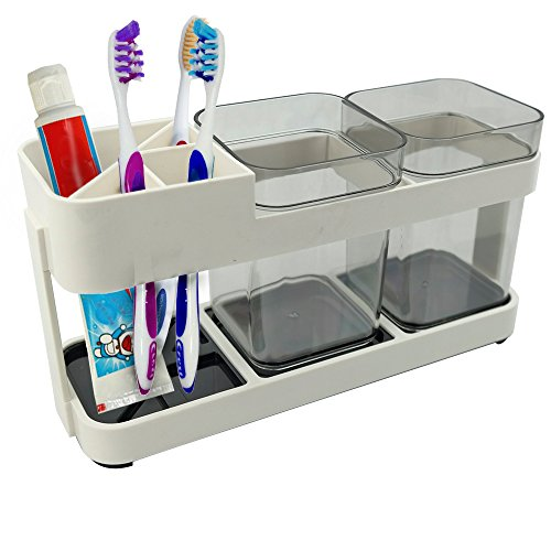 Anbers Toothbrush and Toothpaste Holder for Bathroom Organizer with 2 Rinsing Cups