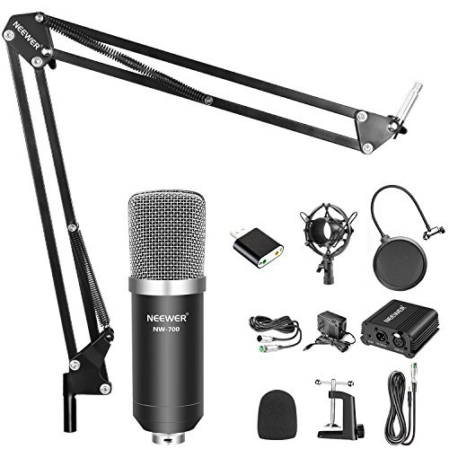 Neewer Home Studio NW-700 Condenser Microphone Kit with Shock Mount, NW-35 Boom Scissor Arm Stand, 48V Phantom Power Supply, XLR Cable, Pop Filter and Type-A USB External Stereo Sound Adapter by Neewer