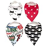 Baby Bandana Drool Bibs for Drooling and Teething 4 Pack Best Gift Set For Super Hero Boys and Girls by Kiddlets