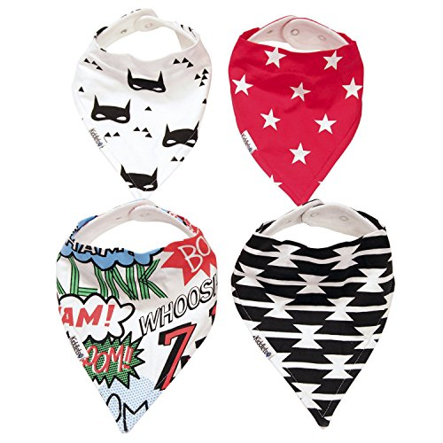 Baby Bandana Drool Bibs for Drooling and Teething 4 Pack Gift Set For Baby Boys and Girls by (Superheroes Outfit)