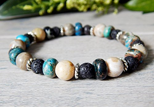 Gemstone Bead Bracelet for Women with Volcano Rock Lava, Fossil Stone and Jasper Blue Black Natural Casual Boho Chic Style High Quality