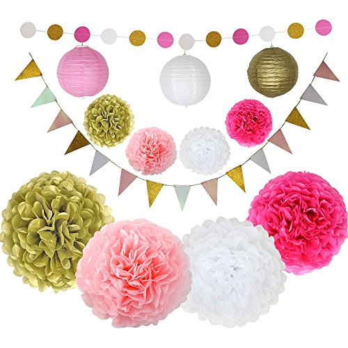 Pink and Gold Party Supplies Tissue Paper Pom Pom Paper Lantern Paper Garland and Triangle Flags for Baby Shower Decorations First Birthday Decorations Bridal Shower (Cute Toga Ideas)