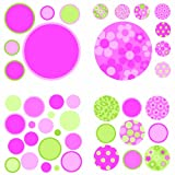 Brewster Wall Pops WPD94572 Peel & Stick Gone Dotty, Pink/Green, 4-Sheets