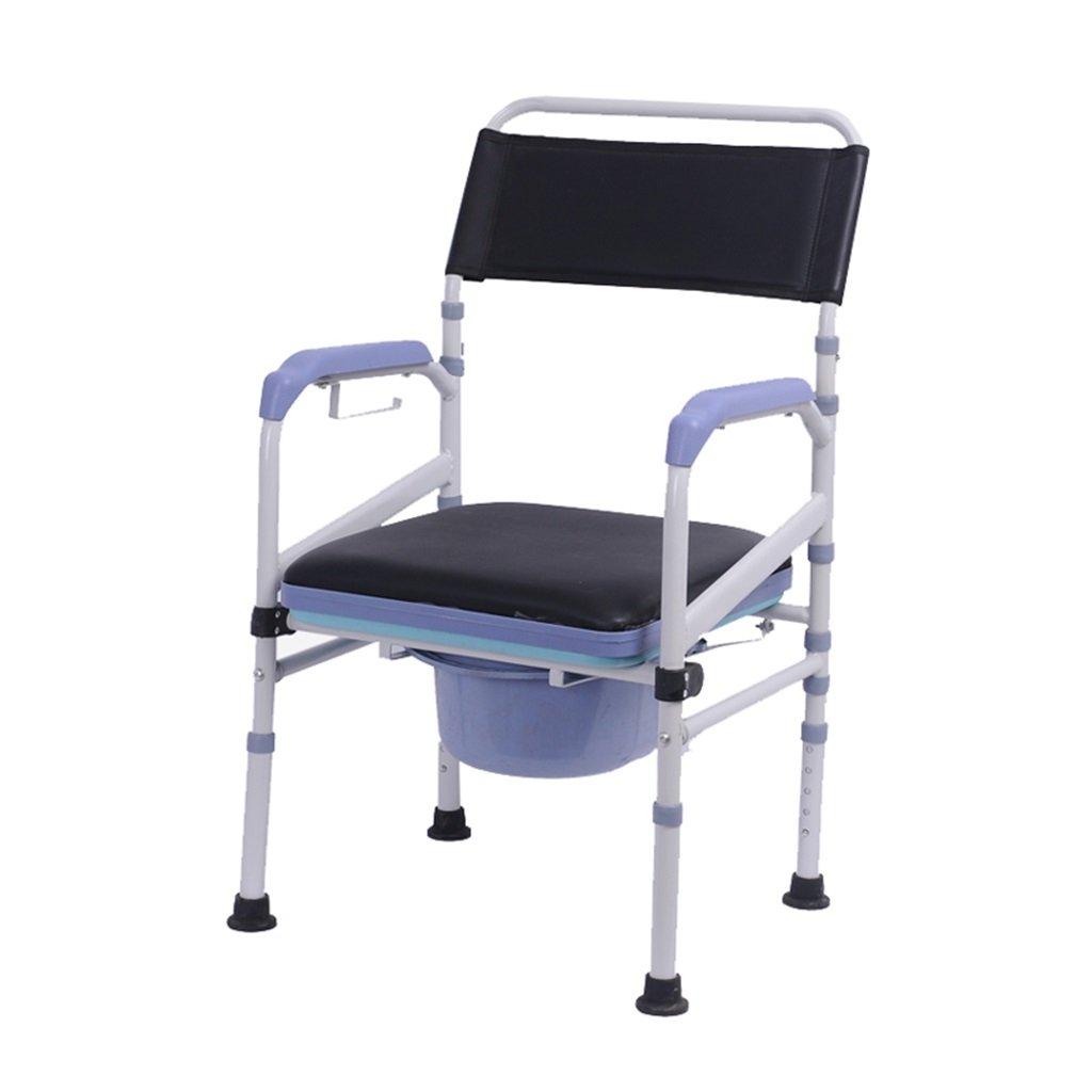 障害のあるトイレの椅子トイレのシャワー付きトイレトイレの椅子の上のバケツの携帯電話の椅子の滑り止めの手すり頑丈で耐久性のあるポータブルの折りたたみ式の高齢者の人の高さパッド入りの最大200kgの B07DKXYP3C