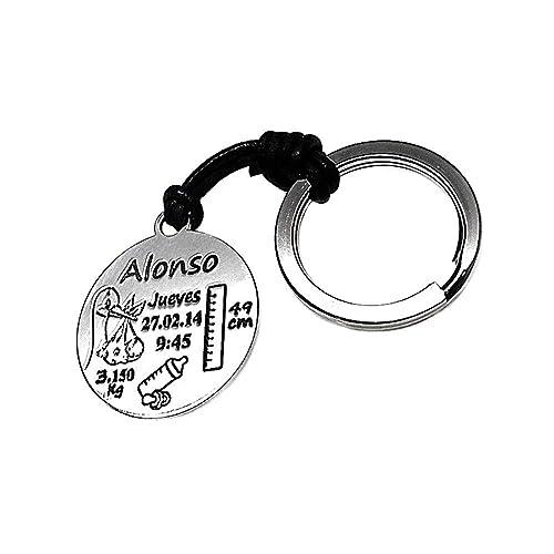Llavero Plata Ley 925M Cuero Nacimiento Disco 30mm ...