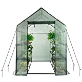 Home-use Large Walk-in Greenhouse With PE Cover , Outdoor Gardening Organic Greenhouse For Grow Seeds , Seedlings , Succulents,3 Tiers 6 Shelves ( 56'' W x 56'' D x 77'' H Inch )