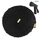 WEINAS 100FT Expandable Garden Hose Flexible Water Hose With Solid Brass Fittings & 8 Patterns Spray Nozzle - Black
