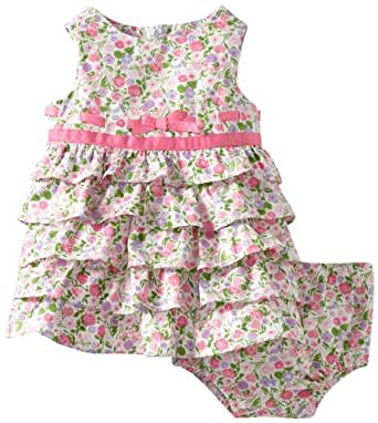 Hartstrings Baby-Girls Newborn Printed Cotton Diaper Cover And Sateen Dress, Pink Floral, 0-3 Months