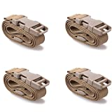 XTACER Backpack Accessory Strap Luggage Straps Cover Strap Long Lash Strap Sleeping Bag Strap Mattress Strap with Quick Release Buckle Tied Band Fixed Belt (TAN - Release Buckle Straps (4-Pack))