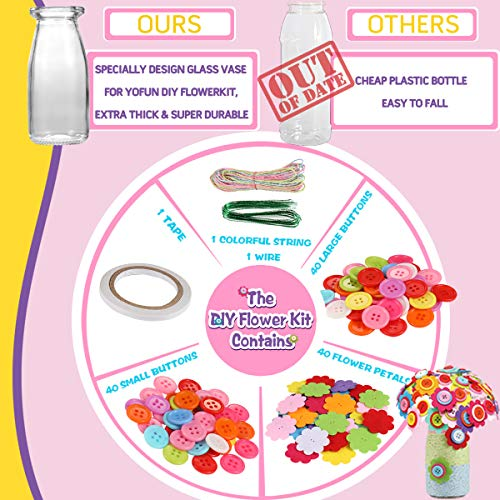 YOFUN Flower Craft Kit for Kids – Make Your Own Flower Bouquet with Buttons and Felt Flowers, Vase Art Toy & Craft…